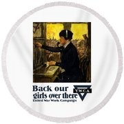 Round Beach Towel featuring the painting Back Our Girls Over There by War Is Hell Store