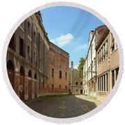 Round Beach Towel featuring the photograph Back Street In Venice by Anne Kotan