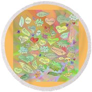 Back To The Garden Leaves, Hearts, Flowers, With Words Round Beach Towel