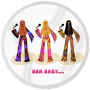 Back To The Sixties Round Beach Towel