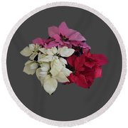 Background Choice-pointsettias Round Beach Towel