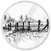 Backlit Fence Round Beach Towel