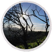 Round Beach Towel featuring the photograph Backlit Trees Overlooking Hillside by Matt Harang