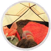 Backpacking Moments Round Beach Towel