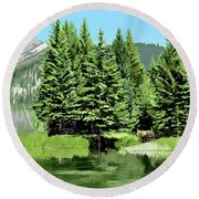 Backwater And Bear Round Beach Towel