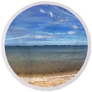 Round Beach Towel featuring the photograph Backwater Bay Pano by T Brian Jones