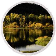 Backwater Blacks At Oxbow Bend Round Beach Towel