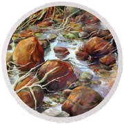 Round Beach Towel featuring the painting Backwater Sticks And Stones by Rae Andrews
