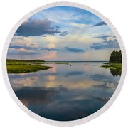 Backwater Sunset Round Beach Towel