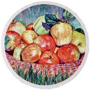 Backyard Apples Round Beach Towel