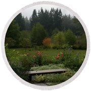 Backyard Flower Garden At Whidbey Isle Round Beach Towel by Henri Irizarri
