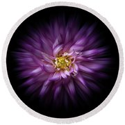 Backyard Flowers 20 Color Flow Version Round Beach Towel by Brian Carson