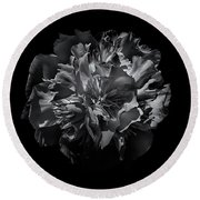 Backyard Flowers In Black And White 25 Round Beach Towel by Brian Carson