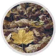 Backyard Leaves Round Beach Towel