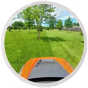 Round Beach Towel featuring the photograph Backyard Mowing by Ricky L Jones