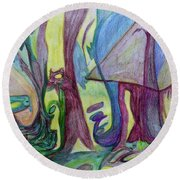 Backyard Spring Round Beach Towel