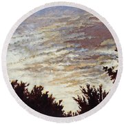 Backyard Sunset Round Beach Towel