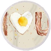 Bacon And Egg I Heart You Watercolor Round Beach Towel