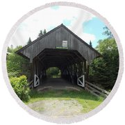 Bacon Covered Bridge Round Beach Towel by Catherine Gagne