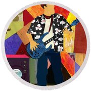 Bad Ass Bass Man Round Beach Towel by Everett Spruill