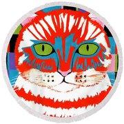 Bad Cattitude - Contemporary Cat Art Round Beach Towel
