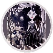 Bad Doll  Round Beach Towel