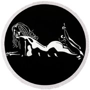 Bad Girl Round Beach Towel by Mayhem Mediums