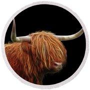 Bad Hair Day - Highland Cow - On Black Round Beach Towel