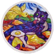 Round Beach Towel featuring the painting Bad Kitty Gets Caught Again by Dianne  Connolly
