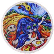 Round Beach Towel featuring the painting Bad Kitty Gets Caught by Dianne  Connolly