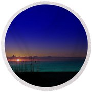 Badblue Sunrise  Round Beach Towel