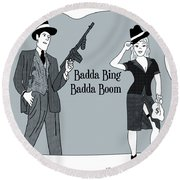 Badda Bing Blue Round Beach Towel