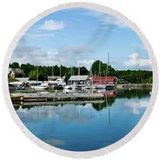 Baddeck Harbor Panorama Round Beach Towel