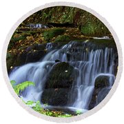 Round Beach Towel featuring the photograph Badger Fall by Baggieoldboy