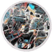 Round Beach Towel featuring the painting Badlands 2 by Dominic Piperata