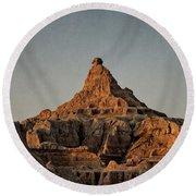 Badlands At Sunrise Round Beach Towel