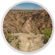 Badlands National Park Round Beach Towel by Brenda Jacobs