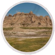Badlands National Park In South Dakota Round Beach Towel by Brenda Jacobs