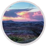 Round Beach Towel featuring the photograph Badlands Sunrise by Fiskr Larsen