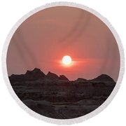 Badlands Sunset Round Beach Towel