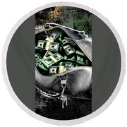 Bag-o-money Round Beach Towel