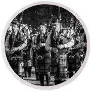 Bagpipe Band - Scottish Festival And Highland Games Round Beach Towel