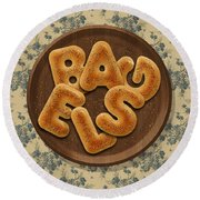 Bagels Round Beach Towel by La Reve Design