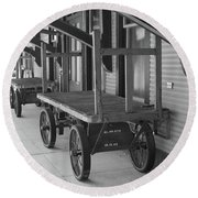 Baggage Carts Bw Round Beach Towel