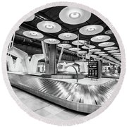 Round Beach Towel featuring the photograph Baggage Reclaim Madrid Airport by Gary Gillette