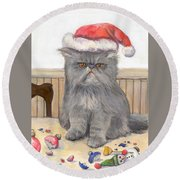 Bah Humbug Round Beach Towel by Donna Tucker