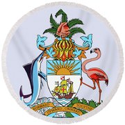 Round Beach Towel featuring the drawing Bahamas Coat Of Arms by Movie Poster Prints