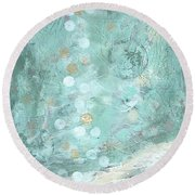 Bahamian Rapture I Round Beach Towel by Kristen Abrahamson