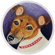 Round Beach Towel featuring the painting Bailey Terrier Mix by Ania M Milo