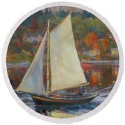 Bainbridge Island Sail Round Beach Towel